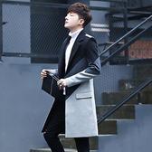 2018新款秋季風衣男中長款潮牌毛呢大衣男士韓版帥氣修身呢子外套  初見居家