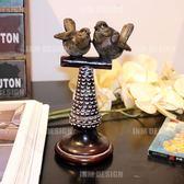 美式鄉村樹脂小鳥擺件 家里玄關電視櫃子裝飾 復古酒店網吧軟裝飾 聖誕節禮物熱銷款