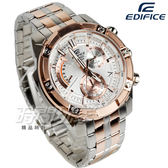 EDIFICE EFR-559SG-7A 粗曠螺絲復古計時男錶 不銹鋼錶帶 防水手錶 銀白x玫瑰金 EFR-559SG-7AVUDF CASIO卡西歐