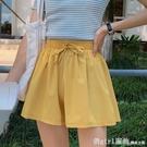 休閒短褲 雪紡休閒短褲女寬鬆運動夏季新款薄款鬆緊韓版高腰冰絲闊腿褲 618購物節