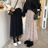 仙女長裙子chic絲絨網紗兩穿半身裙百搭加厚款百褶裙 伊衫風尚