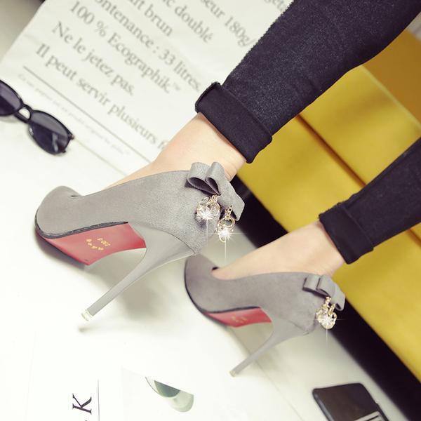 細跟鞋 新款10cm尖頭高跟鞋單鞋性感夜店黑色后蝴蝶結女鞋 - 古梵希