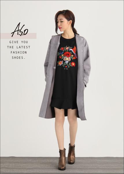 A.S.O 美型氣墊 圖騰拼接拉鍊飾釦奈米厚底短靴  古銅
