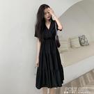 2021新款女裝收腰顯瘦氣質法式連身裙短袖小黑裙A字中長裙子