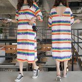 微購【A4250】彩虹條紋露背短袖連身裙 XL-5XL
