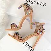 歐美羅馬風宴會女鞋細跟超高跟鞋鏤空一字帶拼色彩色水鉆鉚釘涼鞋