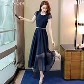休閒洋裝連身裙女夏季長裙新款收腰遮肚顯瘦名媛氣質溫柔風雪紡裙子 快速出貨