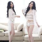 性感睡衣 蕾絲睡衣套裝 (分體2件+外袍...