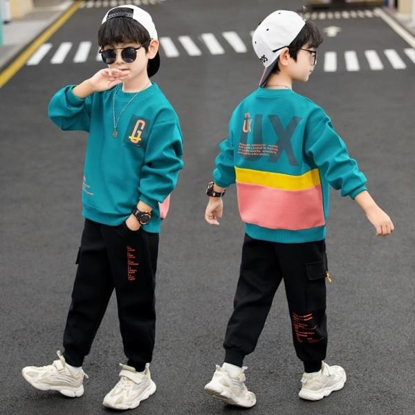 兒童套裝 男童秋裝帥氣套裝春秋2021新款大童運動衛衣童裝男孩洋氣10歲13VB 歐歐