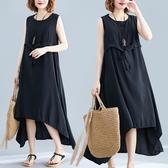 背心連衣裙女無袖打底裙新款夏季寬鬆大碼洋裝 胖mm顯瘦不規則長裙 中秋降價
