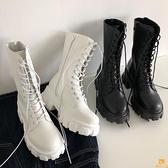 馬丁靴女厚底增高系帶短靴百搭復古粗跟中筒機車靴【慢客生活】