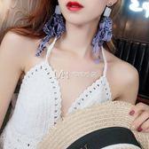 耳環  時髦絲帶大耳環女王范長款耳釘氣質耳墜個性潮人時尚耳飾  瑪奇哈朵