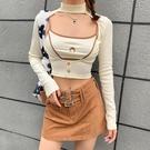 KLIOU 美式超辣鏤空復古t恤女長袖打底衫內搭月牙吊帶兩件套上衣 設計師