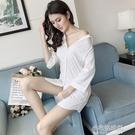 長版上衣襯衫睡衣中長款白色襯衫女寬鬆襯衫裙七分袖bf風情趣誘 【快速出貨】