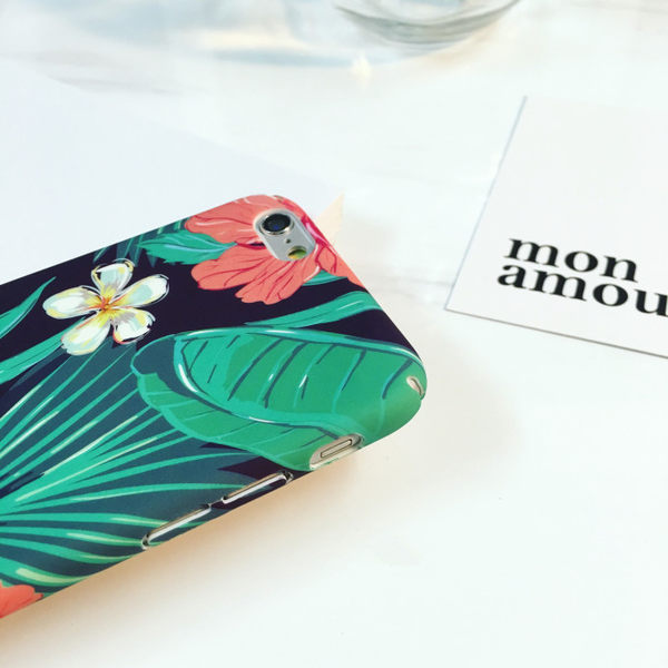 iPhone手機殼 夏日清爽紫底大花 磨砂硬殼全包 蘋果iPhone7/iPhone6手機殼