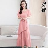 雪紡洋裝 貴夫人夏天純色連身裙2021新款春時尚大碼女裝收腰顯瘦長裙女 3C數位百貨