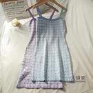 【限時促銷】一字領洋裝 氣質無袖格子洋裝女秋季新款韓版小個子內搭中長款針織吊帶裙秋