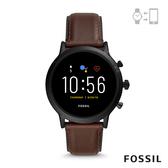 FOSSIL GEN 5智能錶 卡萊爾HR-深咖皮革手錶44MM FTW4026