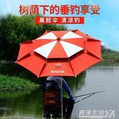 摺疊釣魚傘2.2米萬向防雨釣傘2.4遮陽傘雙層防曬地插漁具防風加固  igo 遇見生活