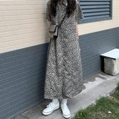 洋裝夏季2020新款女韓版復古碎花雪紡連身裙a字顯瘦短袖過膝中長裙潮ins
