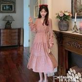碎花裙碎花連身裙女裝秋季法式復古泡泡袖2020新款韓版收腰顯瘦氣質裙子 非凡小鋪
