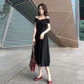 露肩洋裝 小黑裙初戀一字肩V領修身顯瘦氣質sukol裙夏季復古a字洋裝 唯伊時尚