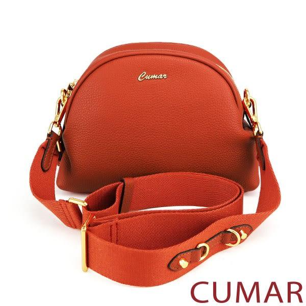 【CUMAR女包】金屬釘飾寬背帶牛皮小包-磚紅