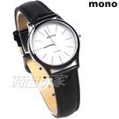 mono 簡約 高雅 設計美學 藍寶石水晶 真皮錶帶 小羊皮 女錶 黑色 5003B白釘小