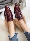 歐洲站毛毛豆豆鞋子女秋季社會百搭韓版尖頭英倫單鞋 歌莉婭