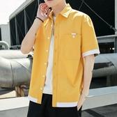 襯衫男士夏季韓版潮流七分袖襯衣休閒半袖上衣短袖工裝外套 快速出貨