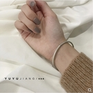 手鐲 韓國韓版s925純銀百搭復古做舊麻花情侶手鐲個性磨砂刻字男女手環【快速出貨八折搶購】