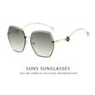 歐美精品太陽眼鏡 漸層綠 無邊框太陽眼鏡 淑女墨鏡 珍珠飾品墨鏡 抗UV400