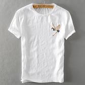 亞麻T恤-仙鶴刺繡白色棉麻短袖男上衣73xf25[巴黎精品]