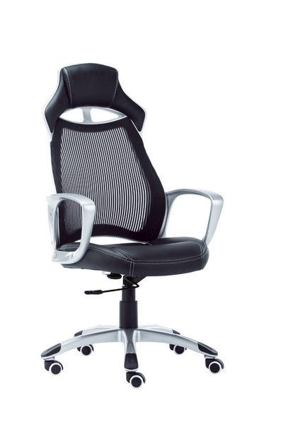 HY-633-1 8098電競科技時尚網椅-黑皮.黑網-銀灰塑鋼-懸背-烤銀腳
