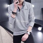 男士薄款T恤長袖純棉襯衫帶領子衣服男裝青年翻領打底polo衫  瑪奇哈朵