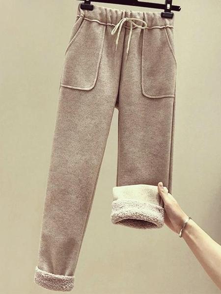毛呢褲子 加厚毛呢休閒褲子女秋冬新款羊羔毛奶奶褲網紅闊腿直筒蘿卜哈倫褲【快速出貨】