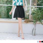 《CA1609-》純色雪紡高腰縮腹波浪褲裙 OB嚴選