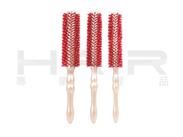 高質感玫瑰金加長型紅色棕毛圓梳  梨花頭/髮拉  天然鬃毛 適吹風機 Z【HAiR美髮網】