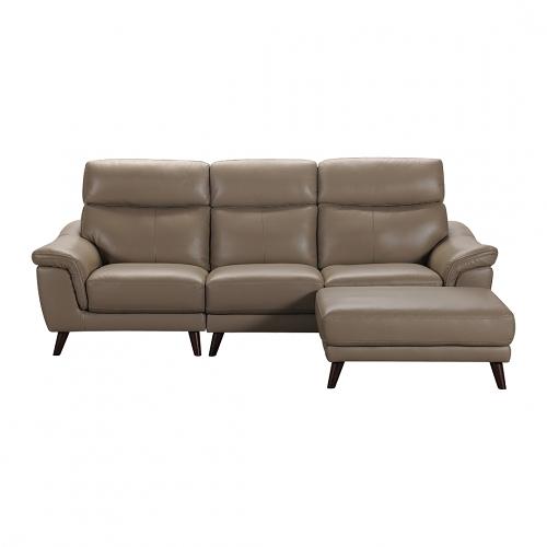 【歐雅系統家具】里加分割式義大利牛皮沙發-L型-麥色 / 現成沙發 / 牛皮沙發/ 三人沙發 / 沙發