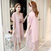 夏裝上衣2019新款時尚寬鬆孕婦洋裝中長款假兩件套夏天裙子 aj16802