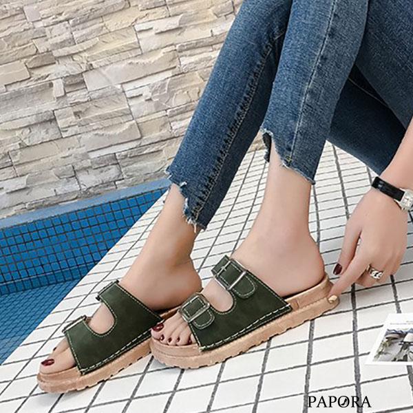 雙扣設計平底休閒拖鞋【KA811-6】黑/綠/米/黃(偏小)