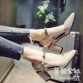 韓版百搭粗跟包頭一字帶 羅馬尖頭高跟鞋 Sq6234『美鞋公社』