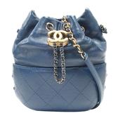 CHANEL 香奈兒 藍色仿舊牛皮復古金釦斜背迷你水桶包 Gabrielle Small Bucket Bag