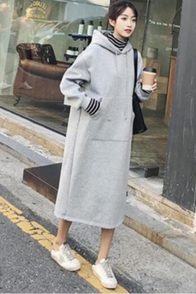 孕婦洋裝 孕婦裝秋冬季加絨加厚假兩件長袖連帽衛衣裙寬鬆大碼過膝連衣裙 歐歐