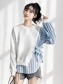 假兩件上衣長袖t恤女春秋2021新款寬鬆韓版假兩件拼接上衣ins女潮小眾設計感  伊蘿