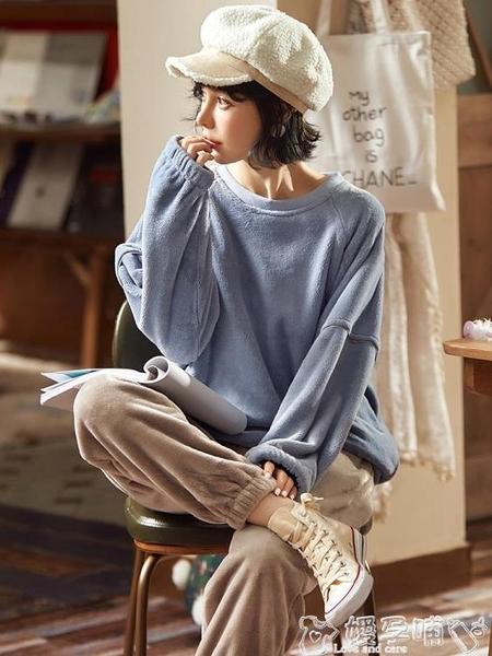 家居服睡衣女士秋冬季珊瑚絨加厚加絨法蘭絨冬天2021年新款可外穿家居服 嬡孕哺
