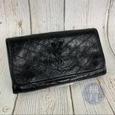 BRAND楓月 SAINT LAURENT YSL 583552 NIKI 黑色 復古 摺皺 掀蓋 長夾 皮夾 錢包