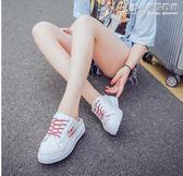半拖鞋季小白鞋繫帶包頭半拖鞋學生無后跟帆布鞋女厚底半拖板鞋懶人鞋  曼莎時尚