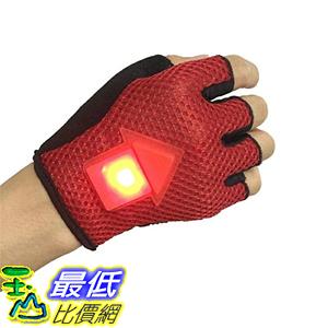 [106美國直購] 騎行手套 RED Bicycle Safety Turn Signal Gloves - LED gravity sensor cycling warning light