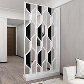 現代簡約家具時尚屏風隔斷客廳歐式鏤空玻璃座屏玄關屏風隔斷櫃【快速出貨】